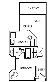 528 sq. ft. S1 floor plan