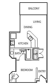 528 sq. ft. Square floor plan