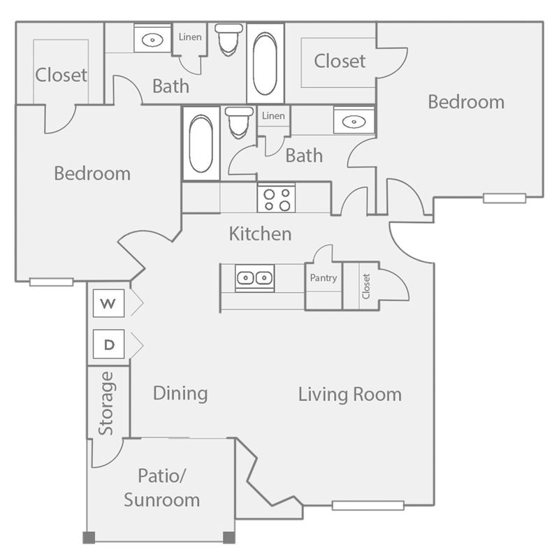965 sq. ft. B3 floor plan