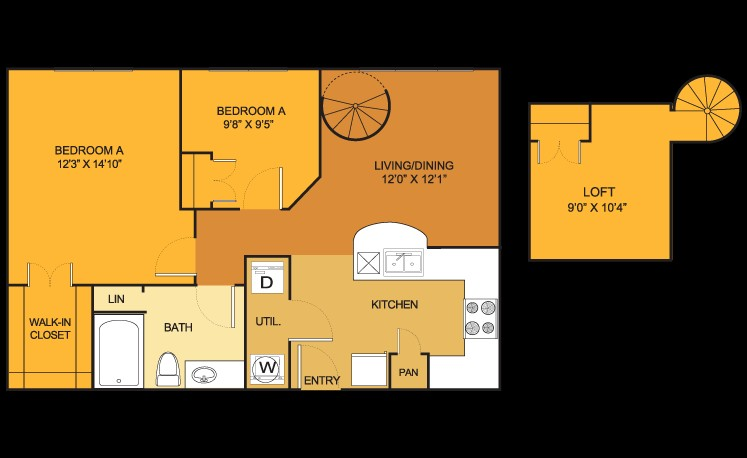 804 sq. ft. B1 floor plan