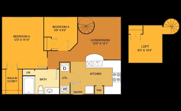 911 sq. ft. B1LOFT floor plan