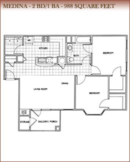 988 sq. ft. Medina floor plan