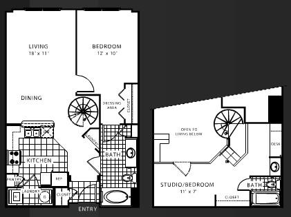 998 sq. ft. B4 floor plan