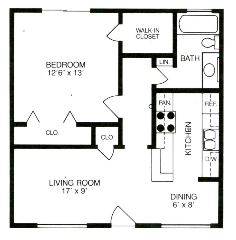 560 sq. ft. to 712 sq. ft. floor plan