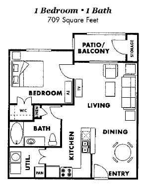 709 sq. ft. A1-60% floor plan