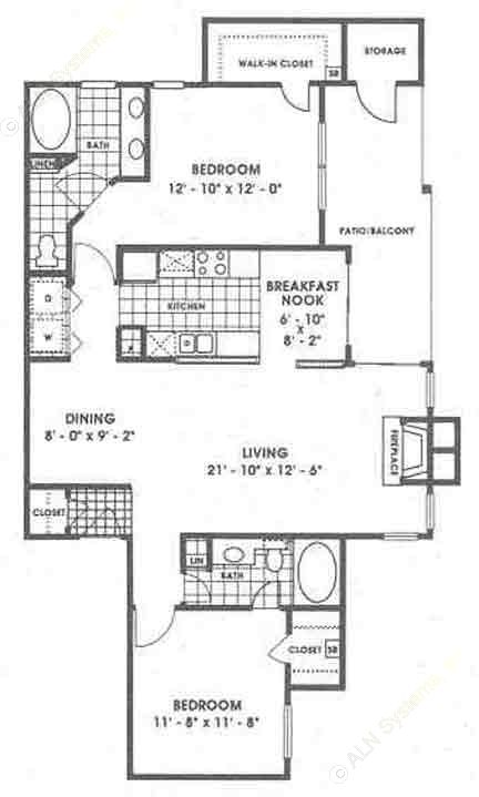 1,201 sq. ft. B2/Pinnacle floor plan