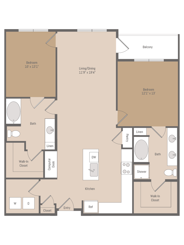 1,240 sq. ft. B3.1 floor plan