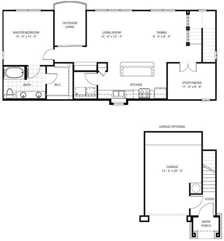 1,010 sq. ft. Serape penthouse floor plan