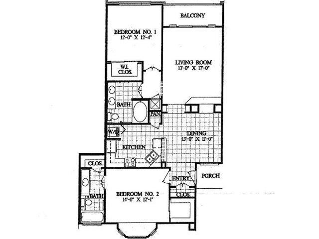 1,202 sq. ft. B3 floor plan