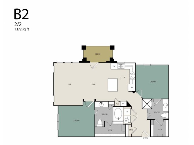 1,175 sq. ft. to 1,189 sq. ft. B2 floor plan