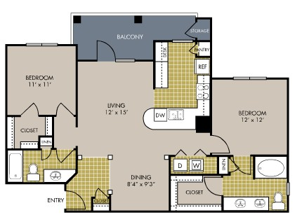 1,097 sq. ft. B5 floor plan