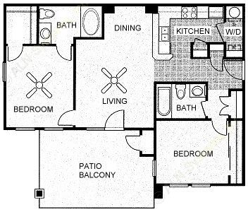 933 sq. ft. PECAN floor plan