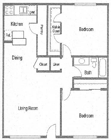 800 sq. ft. DEVONSHIRE floor plan