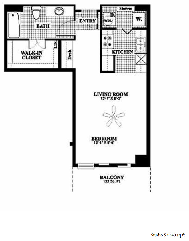 540 sq. ft. to 583 sq. ft. S1/S2 floor plan