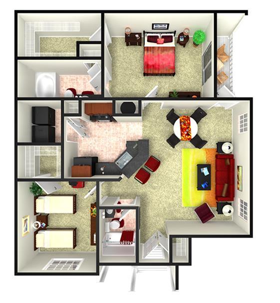 1,096 sq. ft. B1L floor plan