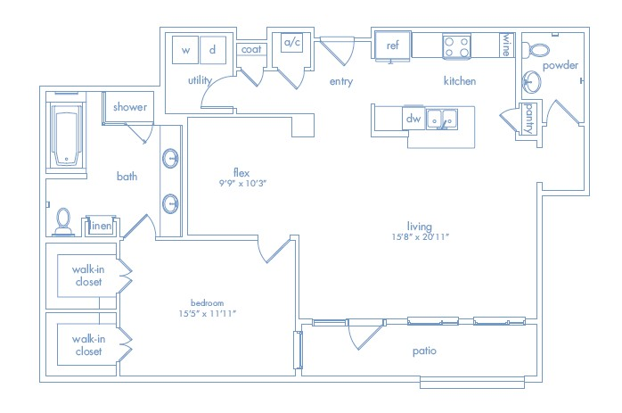 1,272 sq. ft. ROTHKO floor plan