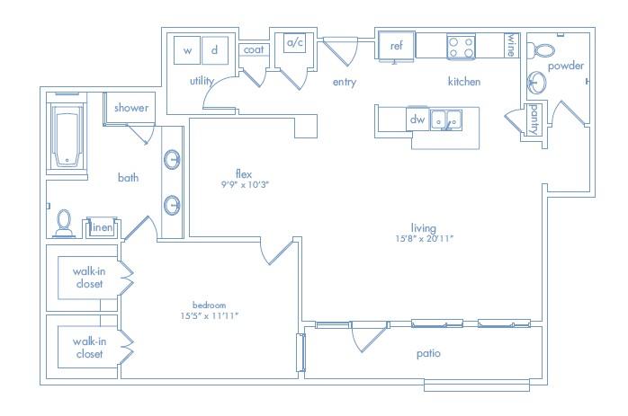 1,272 sq. ft. Rothko floor plan