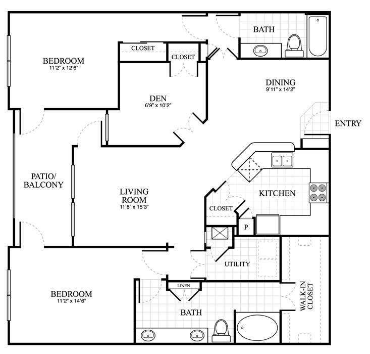 1,365 sq. ft. Bromley floor plan