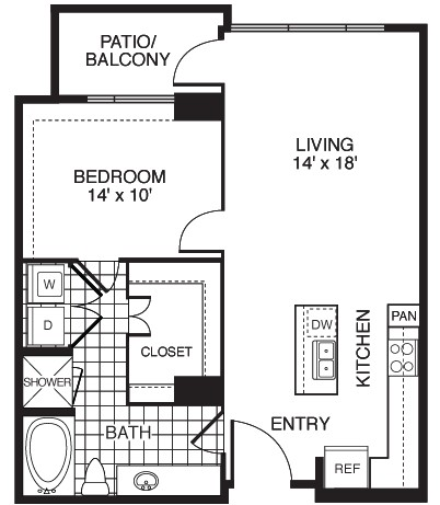 867 sq. ft. Traditional/Tower floor plan
