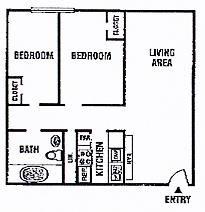 719 sq. ft. 21C/60% floor plan