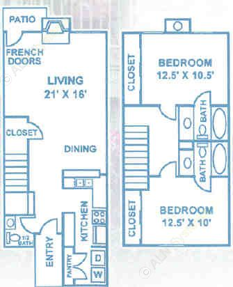 1,134 sq. ft. B3 floor plan