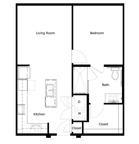 702 sq. ft. A1CHC-II floor plan