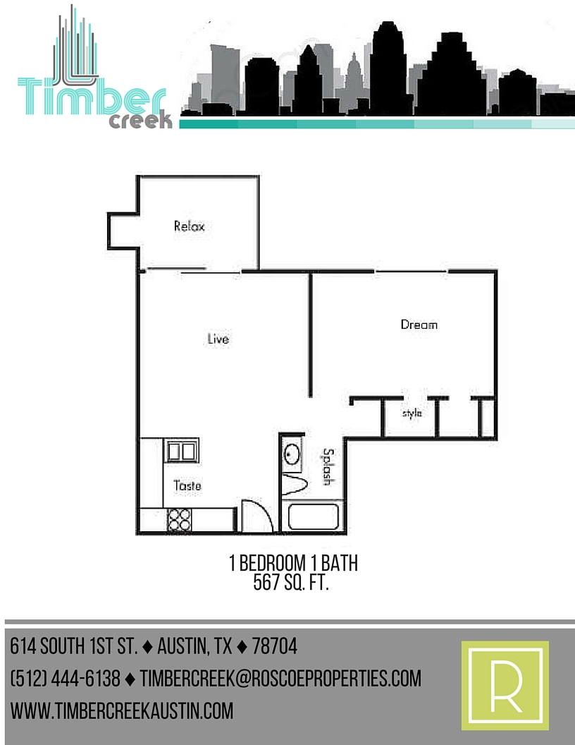 567 sq. ft. A2 floor plan