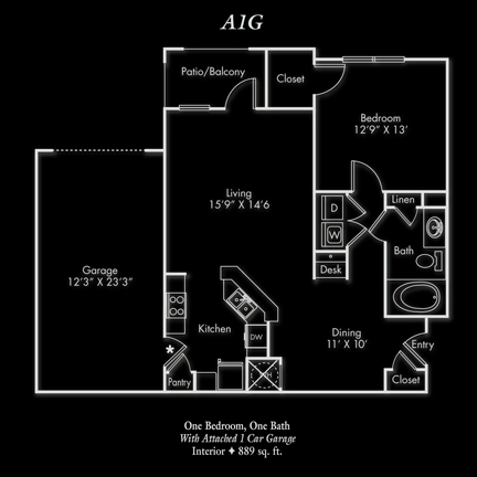 889 sq. ft. A floor plan