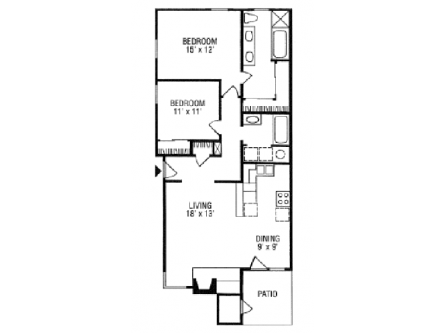 1,000 sq. ft. B5-B floor plan