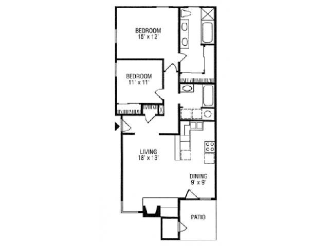 1,000 sq. ft. B5-B floor plan
