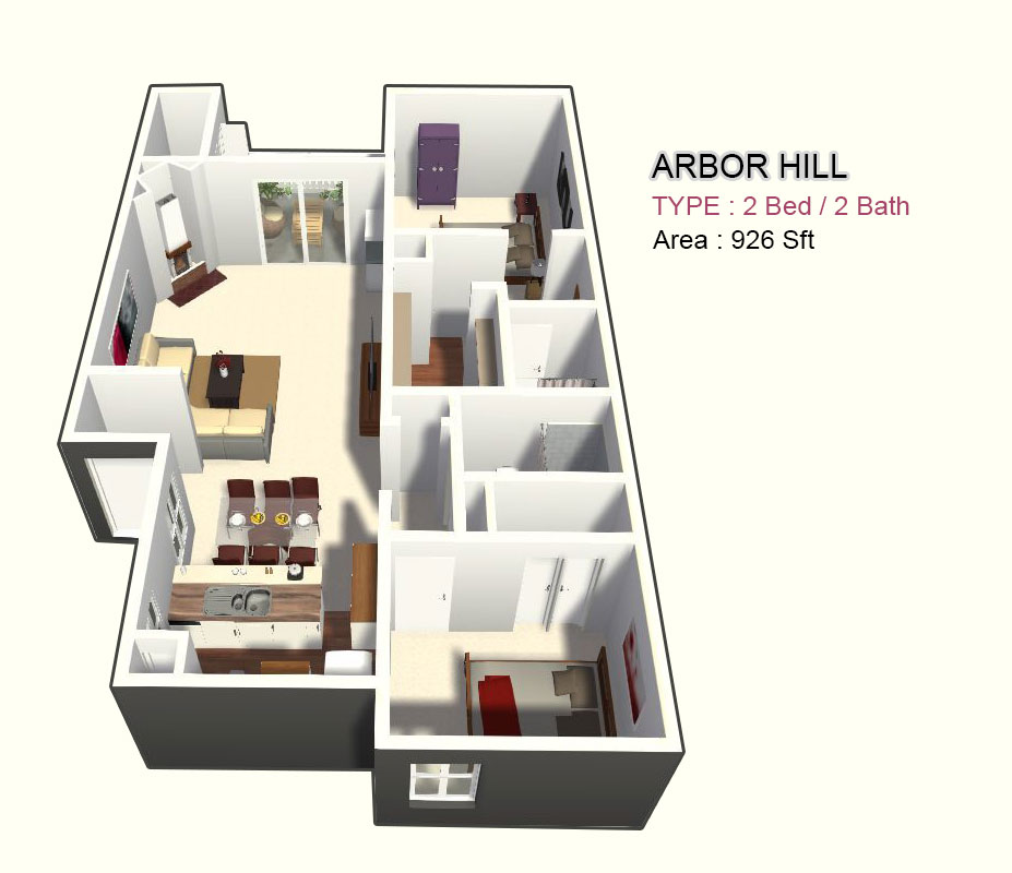 926 sq. ft. 2A floor plan
