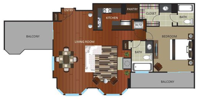 1,115 sq. ft. PNTHOUSE floor plan