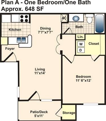648 sq. ft. A floor plan