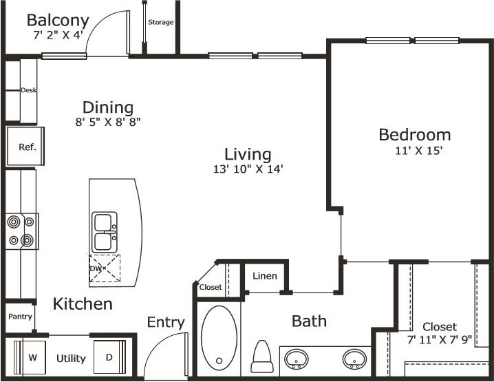 786 sq. ft. A3 floor plan