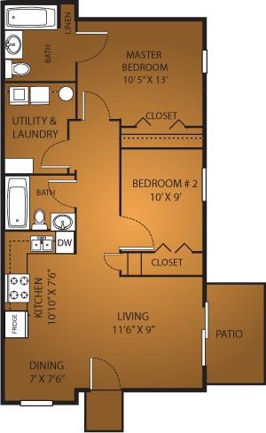 858 sq. ft. B1/60% floor plan