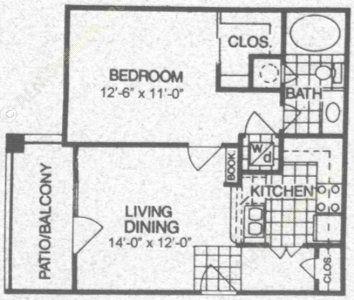 564 sq. ft. A1 floor plan