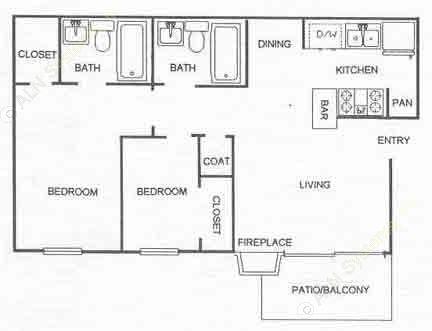 914 sq. ft. B2 floor plan