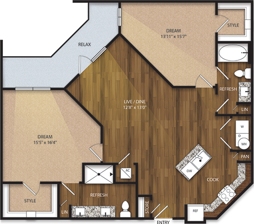 1,282 sq. ft. B2 floor plan