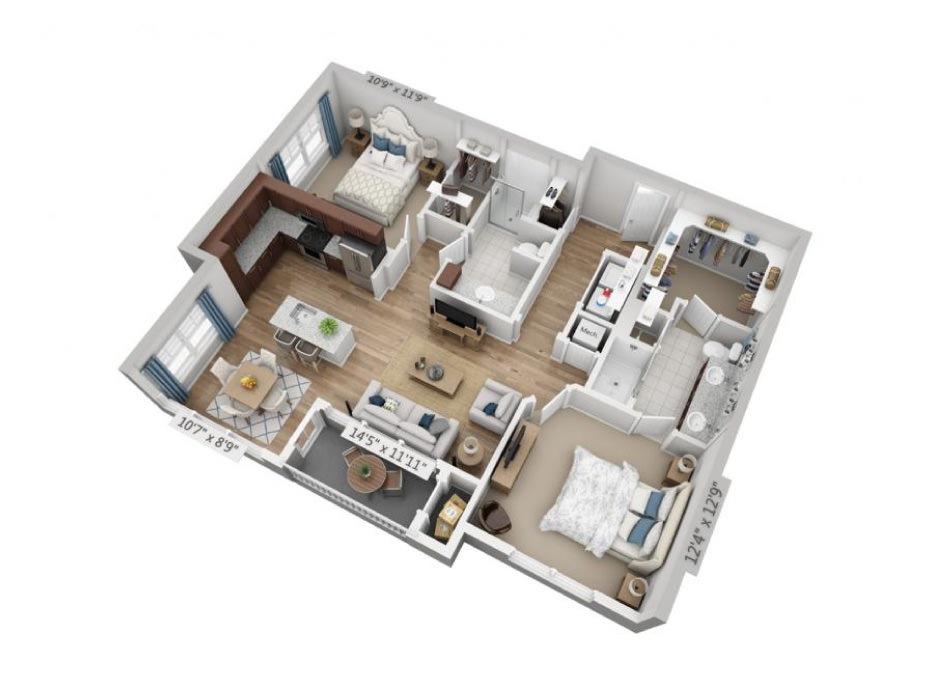 1,132 sq. ft. B2B floor plan
