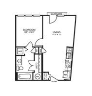 614 sq. ft. A1C floor plan