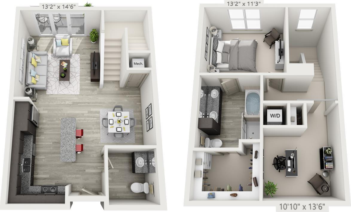 1,195 sq. ft. TH-2 floor plan