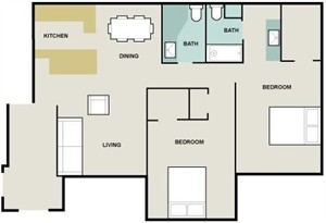 1,045 sq. ft. Isabella/B6 floor plan
