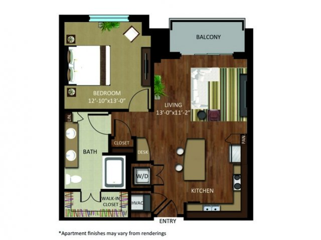 783 sq. ft. A7 floor plan