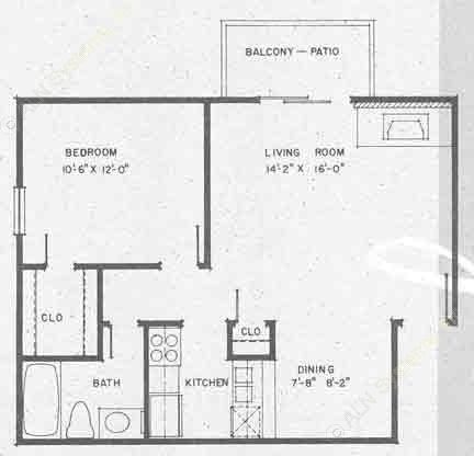 616 sq. ft. A2 floor plan