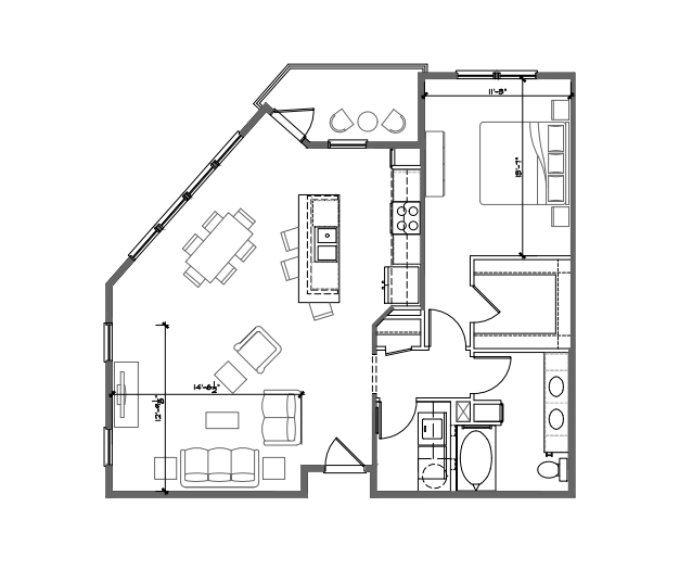 993 sq. ft. A6 floor plan