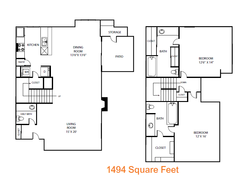 1,494 sq. ft. Chinaberry floor plan