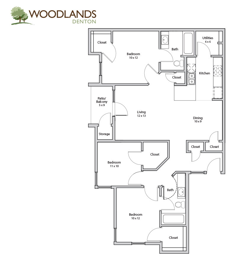1,300 sq. ft. Cypress floor plan