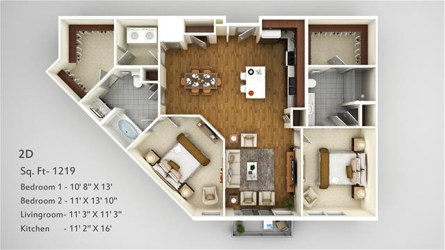 1,219 sq. ft. 2D floor plan