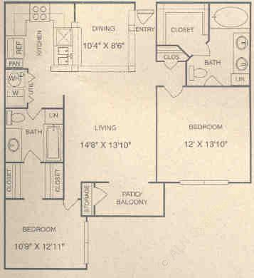 1,095 sq. ft. E1P floor plan
