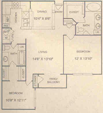 1,095 sq. ft. E1P floor plan